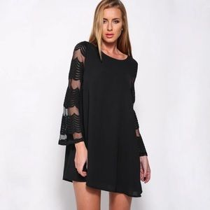 Dresses & Skirts - Sheer Back and Bell Sleeves A Line Chiffon Dress